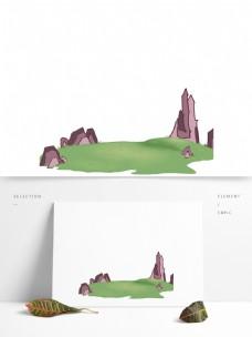 草地素材手绘绿地石块