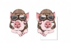 超级可爱飞行员猪猪头像矢量图案