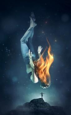 火焰图片创意图片美女