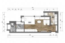 单身公寓户型彩色平面图