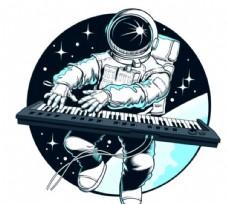 手绘弹琴的太空人
