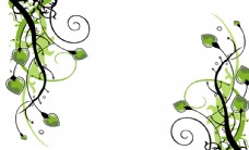 绿色桃心花纹背景墙