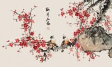 水墨梅花山水电视背景墙13