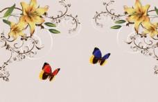 蝴蝶简约背景墙