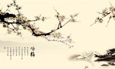 咏梅彩雕背景墙