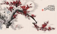 水墨梅花山水电视背景墙11