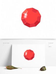 宝石红色卡通矢量元素