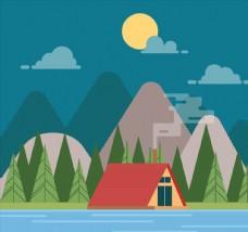 月夜河边野营帐篷风景