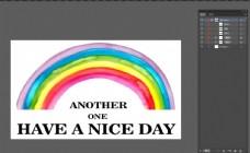 七色彩虹时尚英文字母T恤印花矢