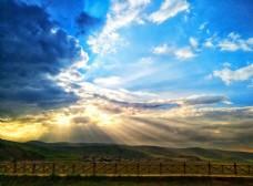 云层 突破 光线 蓝天 白云