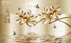 金色莲花背景墙