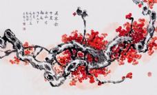 水墨梅花山水电视背景墙12