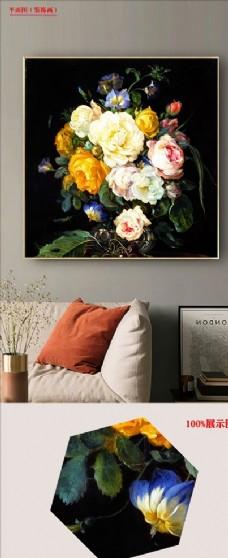 欧式复古花卉油画无框画