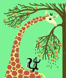 长颈鹿  彩色 卡通 广告