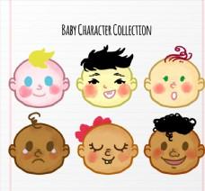 彩色婴儿头像