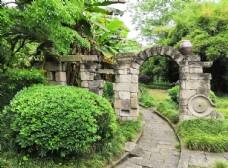 条石圆拱门景观