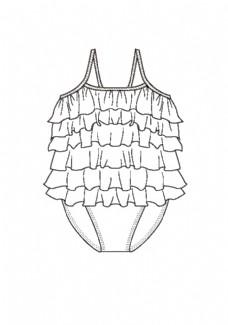 服装平面图 儿童连体泳衣