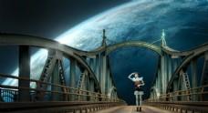 铁桥创意图片素材月球图片素材