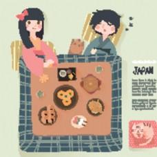 日本元素插画和服人物