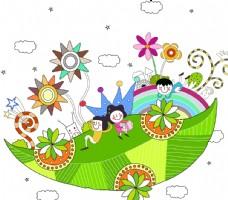 游乐场 卡通 可爱 分层 花朵