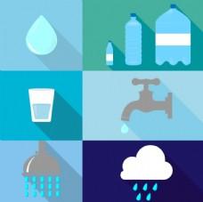 水滴水龙头等矢量水元素