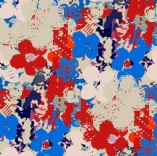 抽像蓝红花朵