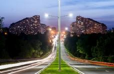 城市夜景灯光道路路灯背景