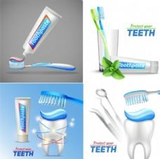 牙膏牙刷矢量