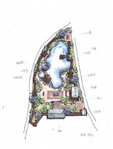 中式院子手绘平面图
