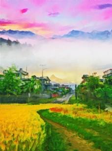 田野风景油画