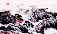 新中式唯美意境山水风景国画电视