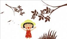硅藻泥樱桃小丸子树枝小草大雁