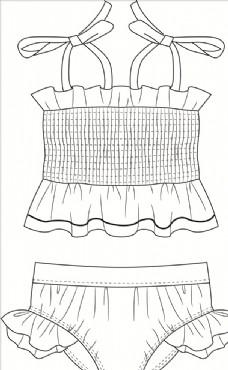服装平面图 儿童泳衣