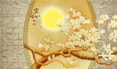 彩雕兰花新中式背景墙
