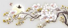 兰花新中式背景墙