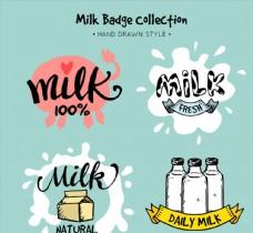 4款彩绘牛奶徽章