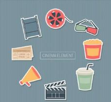 8款彩色电影元素贴纸