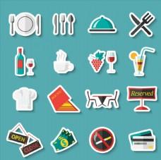 16款彩色餐馆元素贴纸