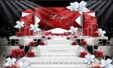 红色婚礼主舞台效果图