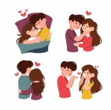 手绘恋人情人爱人夫妻