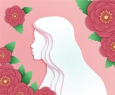 剪纸风格女性头像和花朵素材