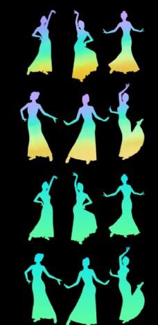 渐变配色民族舞人物舞蹈剪影