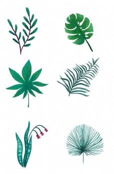 春季卡通手绘多种绿色叶子