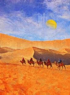 金色沙漠骆驼风景油画