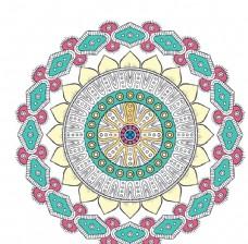 矢量 花 花纹 圆形 彩色