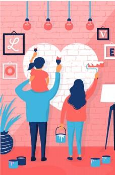 卡通 有爱 一家人三口 粉色