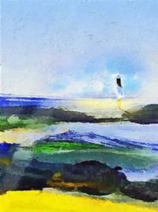北欧海滩美女油画