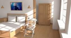 c4d卧室室内设计渲染图