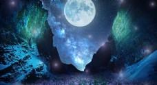 夜空繁星下的月球摄影