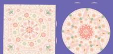 线性视界风格暖色系几何花朵图案